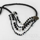 multi strand favourite black agate and clear crystal necklace