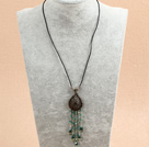 Wholesale New Design Black Agate and Crystal and Olive Jade Necklace with Lobster Clasp
