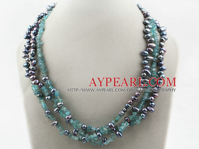Three Strands Black Freshwater Pearl and Kyanite Chips Necklace