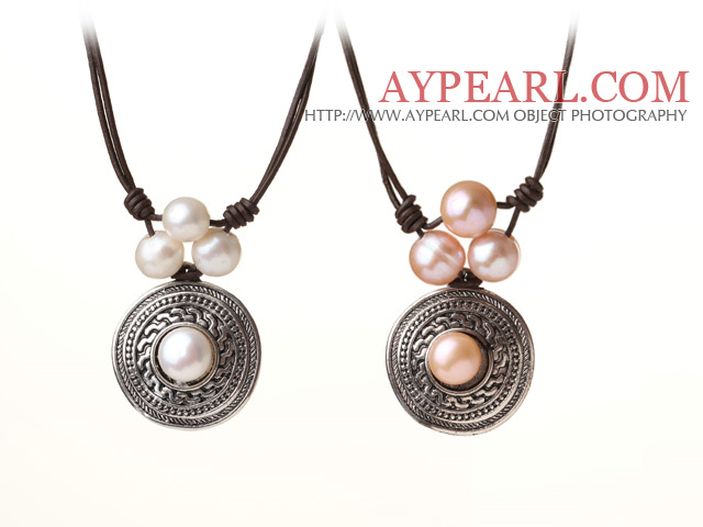 Newly Popular Style 2 pcs Freshwater Pearl Beads Leather Necklace with Round Tibet Silver Pendant