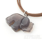 Wholesale elephant shape gray agate pendant necklace with extendable chain