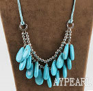 Wholesale drop shape turquoise and metal beads necklace