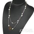 Wholesale 43.3inches fashion white pearl necklaces with flower charm