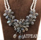 Wholesale Big Style White Freshwater Pearl and Faceted Flashing Stone Flower Necklace