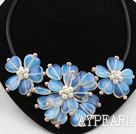Wholesale Heart Shape Opal Flower Necklace with White Pink Freshwater Pearl and Lether Cord