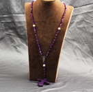 Wholesale Classic Design Fashion Long Y Shape Purple Frosted Banded Agate Necklace With Cross Shape Turquoise Pendant