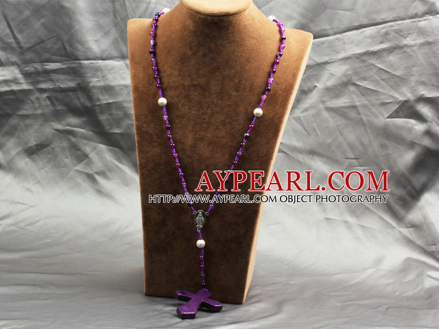 Classic Design Fashion Long Y Shape Purple Frosted Banded Agate Necklace With Cross Shape Turquoise Pendant