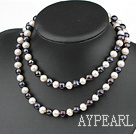 Wholesale 31.5 inches 9-10mm white and black pearl long style necklace