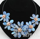 Wholesale Oval Shape Opal Flower Necklace with Pink Freshwater Pearl and Lether Cord