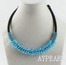 Wholesale popular style 16.9 inches sea blue crystal beaded necklace