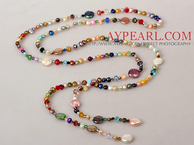 Long Style Multi Color Freshwater Pearl Crystal Necklace
