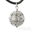 Lovely Rhinestone Ball Pendant Necklace With Black Leather Cord And Magnetic Clasp