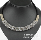Wholesale popular style 16.9 inches light grey crystal beaded necklace