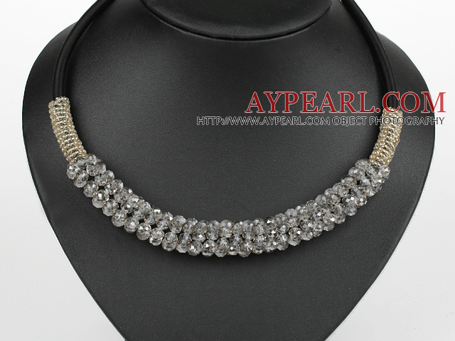 popular style 16.9 inches light grey crystal beaded necklace