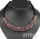 popular style 16.9 inches shinning purple crystal beaded necklace 