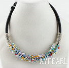 popular style 16.9 inches multi color crystal beaded necklace