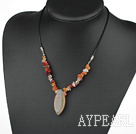 17.5 inches simple agate necklace with lobster clasp