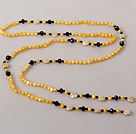Yellow Series Freshwater Pearl Crystal Long Necklace