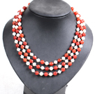 Beautiful 3 Strand Natural White Freshwater Pearl And Red Agate Beads Party Necklace With Shell Flower Clasp