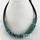 Wholesale popular style 16.9 inches green crystal beaded necklace