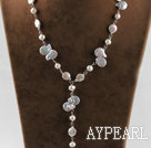 Y shape stunning natural button pearl necklace