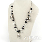 Wholesale pearl and clear crystal necklace with extendable chain