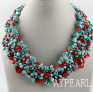 Wholesale exquisite coral and turquoise necklace with magnetic clasp