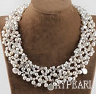 sparkly pearl and white turquoise necklace with magnetic clasp