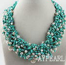 Gorgeous White Pearl and Turquoise Woven Necklace