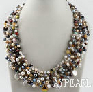 Wholesale gorgeous pearl and crystal gemstone chips necklace