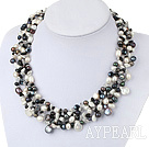 gorgeous pearl and black agate gemstone chips necklace