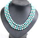 Beautiful 3 Strand Natural White Freshwater Pearl Turquoise Beads Party Necklace With Shell Flower Clasp