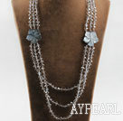 Wholesale three strand 23.6 inches crystal and shell necklace