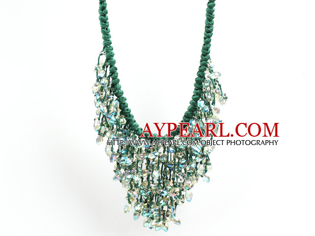Sparkly Bib Shape Green Series Water Drop Shape Crystal Statement Party Necklace With Green Thread Woven Drawstring Chain