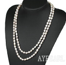 fashion long style 47.2 inches 7-8mm white pearl necklace