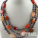 Wholesale Three Strands Black Pearl and Agate Necklace