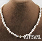 17.3 inches 6-7-10mm white fresh water pearl necklace with gold color clasp