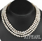 Wholesale three strand 17.3 inches white pearl necklace with box clasp