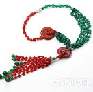 New Style Y Shape Faceted Green Agate and Carnelian Donut Tassel Necklace with Rhinestone