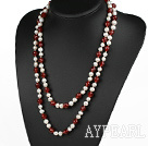 Wholesale long style 47.2 inches white pearl and red agate necklace