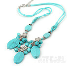 Wholesale Lovely Round And Oval Shape Burst Pattern Blue Turquoise Pendant Threaded Necklace With Extendable Chain
