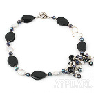 Nice White Coin Pearl Black Freshwater Pearl And Black Agate Loop Charm Bracelet With Moonight Clasp
