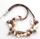 New Arrival White and Brown Color Teeth Shape Pearl Necklace with Lobster Clasp
