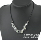 Fashion White Crystal And Jade Necklace With Black Leather Cord