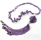 Wholesale New Style Y Shape Amethyst Donut Tassel Necklace with Rhinestone