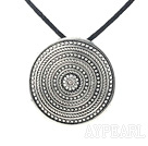 Fashion Annular Tibet Silver Pendant Necklace With Black Cord And Extendable Chain