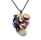 Fashion Multi Colorful Shell Cluster Pendant Necklace With Black Cords