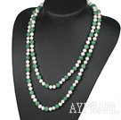 long style 47.2 inches white pearl and aventurine necklace