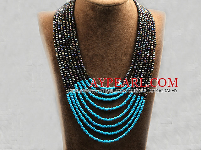 Multi Strands Multi Layered 4-5mm Black with Color and Blue Plastic Seed Necklace