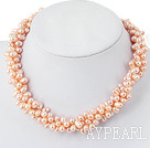 5-6Mm Natural Pink Slant Hole Fresh Water Pearl Necklace